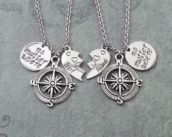 Compass Necklace SET Best Friends Necklace No Matter Where Best Friend Necklace Long Distance Relationship Boyfriend Girlfriend Broken Heart