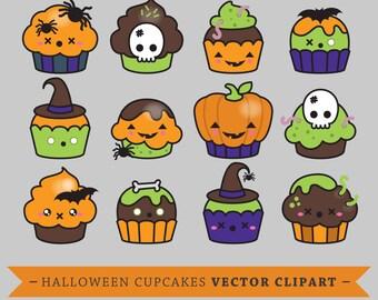 Premium Vector Clipart - Kawaii Halloween Cup Cakes - Cute Cupcakes Clipart Set - High Quality Vectors - Instant Download - Kawaii Clipart