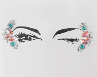 Festival Face Jewels | Light Pink And Teal (Aqua) Face & Body Jewels Sticker, Festival, Rave, EDC, Coachella | Rave Festival Face Stickers