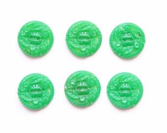 Supplies - 6 matching vintage green buttons, green buttons, kelly green buttons, emerald green buttons