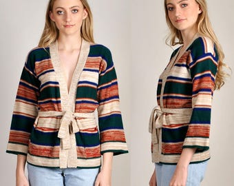 vintage 1970's knit cardigan with belt and front pockets     H7