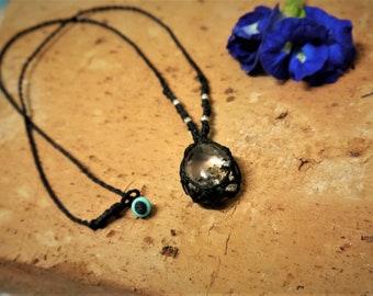 gem necklace, crystal necklace, boho necklace, gemstone necklace, braided necklace, hippie necklace, crystal necklace.