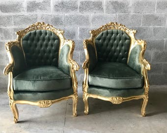 French Furniture Antique Chair French Settee *2 Chairs Left* Green Velvet  Tufted Settee Baroque