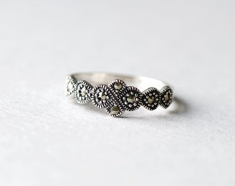 925 Sterling Silver Art Deco Ring, Marcasite Ring, Everyday Jewelry, Vintage Style Ring, Minimalist Ring