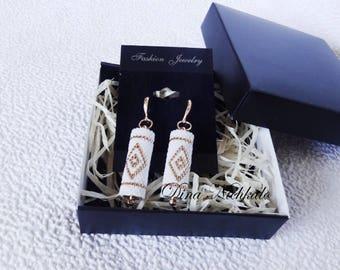 White Earrings Seed Bead Earrings Bridal Earrings Wedding earrings Dangle earrings Beaded earrings Tube earrings Birthday gifts for wife