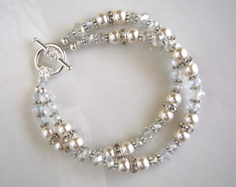 Crystal and Swarovski White Pearl Bracelet Two Strand Pearl Wedding Bracelet Pearl Bridal Bracelet