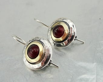 Garnet Earrings, Handmade 9K yellow Gold 925 Sterling Silver Garnet Earrings, Birthday Gift, Red stone , Dangle Round Earrings (ms 1408e