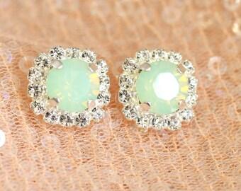 Mint Opal, Swarovski Mint Opal Earrings,Bridesmaids Earrings, Mint Opal Silver Studs, Mint Opal Bridal Earrings,Gift For Her, Crystal Studs