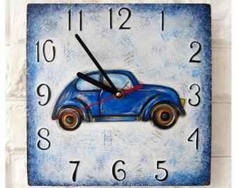 Blue Retro Car Wall Clock OOAK Home Decor for Children Kid Boy Girl Nursery Playroom