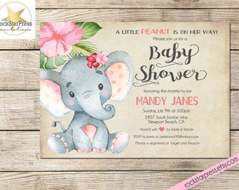 Elephant baby shower invitation gender neutral shower elephant baby shower invitation girl shower invitation digital file printable 1302 filmwisefo