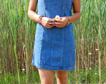 Vintage Blue Denim Mini Dress 90s Guess Denim Jumper Short Small Medium
