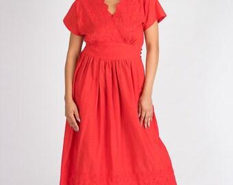 Red Vintage Dress Flare Dress