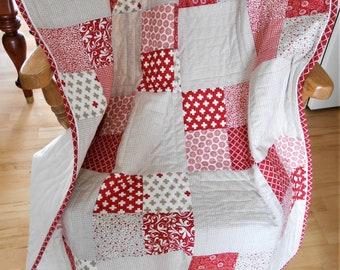 Handmade Baby Blanket, Handmade Baby Quilt, Adult Throw, Sofa Throw, Gender Neutral, Red, Tan, Cream