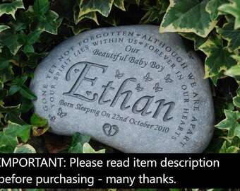 Engraved memorial stone personalised loved ones grave marker plaque headstone