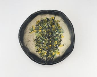Green, Yellow and Black Clover Plant Ring Dish Catch All Dish (no 825)
