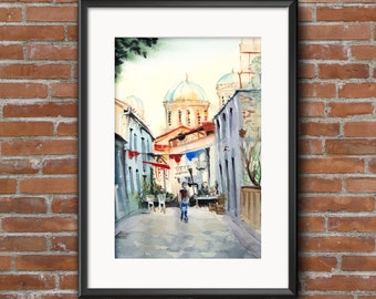 Original watercolor painting old town Limassol. Cyprus cityscape watercolour painting