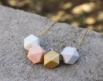 Geometric Wood Necklace // Gold Peach Faceted Wooden Bead Necklace // Hand Painted// Hedron Necklace Everyday // Statement