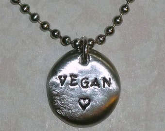 Vegan Jewelry - Vegan Love Hand Stamped Pewter Pebble Necklace - Hand Stamped Vegan Pewter Coin Necklace - Vegan Gift