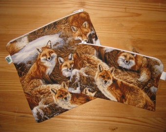Reusable Zipper Sandwich & Snack Bags BPA Free Eco Friendly Set of 2 Foxes Fox Animal Print
