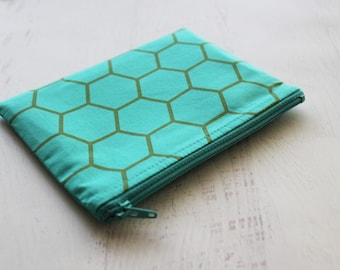 zipper pouch - makeup bag - turquoise bag - Honeycomb -  zipper pouch - gift card holder - gift for bestie  - bridesmaid giftchange purse -
