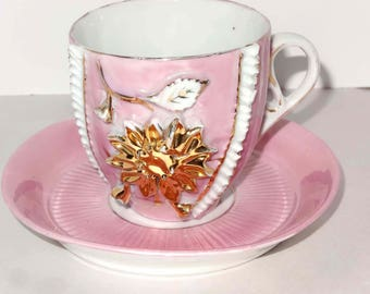 Pink with Gold Leaf SunflowerTea Cup with Saucer Home and Garden Kitchen and Dining Tableware Drinkware Coffee and Tea Cups