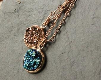 "Rose Gold Druzy necklace choose 14"" - 40"" rose gold plated chain soldered link choose rose gold or blue druzy necklace druzy pendant SF110"