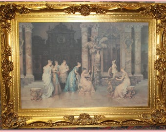 Gorgeous vintage French framed print ~ Gilt carved wood frame with Roses and swags ~ stunning blush pinks, aquas and blues HUGE!