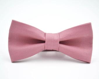Mens Bowtie in Dusty Rose, Kaufman Kona in Rose Bow Tie, Mauve Bow Tie, Groomsmen Bow Tie, Wedding Bow Tie, by AmandaJoHandmade on Etsy