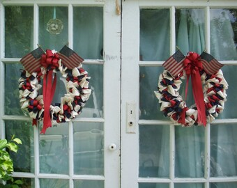 Fourth of July Ribbon Wreaths Pair Patriotic 16 inch Red White and Blue Colonial Colors