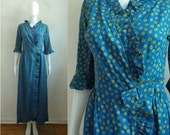 Vintage Floral Wrap Dress 60s Cotton Blue Flower Print Cropped Sleeve Maxi Dress with Pockets Womens Size XS