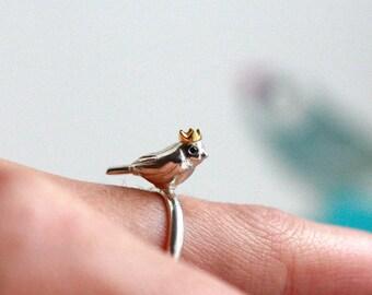 Bird Ring, Silver Bird Ring, Nature Ring, Bird Crown Ring, Silver Ring, Handmade Silver Ring, Black Diamond Ring, Rock Cakes