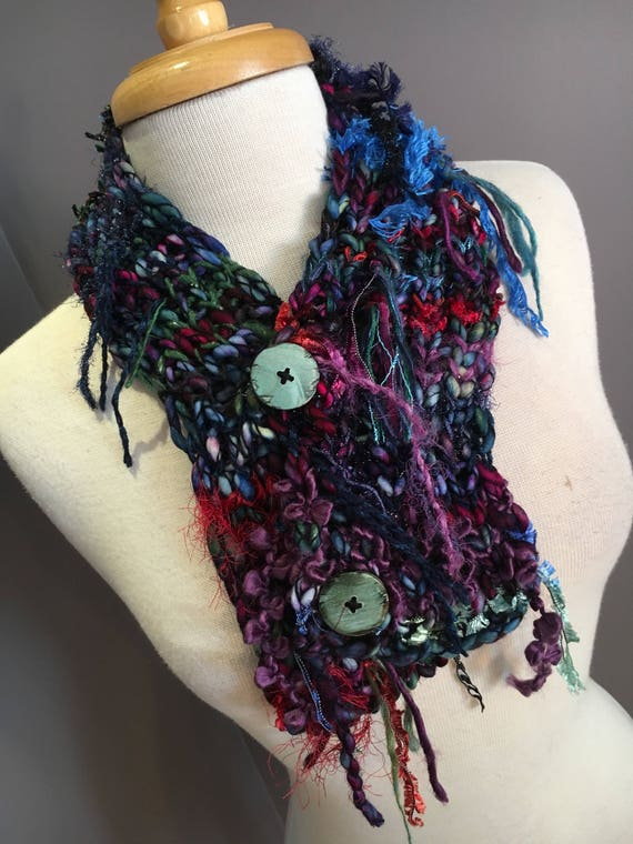 Handmade Knit Art Cowl or mini scarf with Buttons, Hand dyed spun mohair knit scarf, Fusion, neckwarmer, boho buttoned scarf, choker
