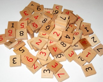 90 Very Nice Wooden Sudoku Number Tiles for Crafting, Altered Art, jewelry Making, etc.