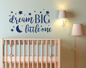 Wall Decals - Dream Big Little One wall decal,  dream big wall decal, nursery stars moon, moon stars decal, kids room moon decal, dream
