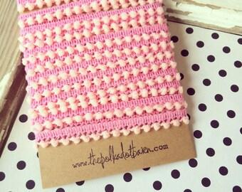mini PINK Pom pom trim 1/2 inch - 5 yards pink pom pom trim-sewing trim-pom poms -  Pink mini Pom Pom