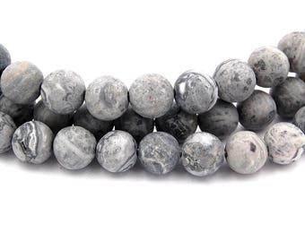 Matte Picasso Stone, Gray 10mm smooth round -15 inch strand