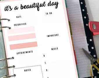 Daily planner A5, daily diary a5 printable