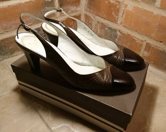 Vintage 60's shoes, slingback heels, Bruno Magli Italian leather shoes, boxed vintage shoes