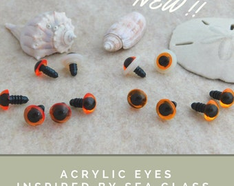 12 PAIR Acrylic Safety Eyes dk & lt amber With Plastic Washers 6m or 8mm or 10mm or 12mm For Sewing, Crochet, Teddy Bear, Doll, Crafts APE