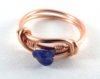 Raw Sapphire Wire Wrapped Ring Rose Gold