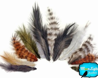 Fluffy Feathers, 1 Pack - Natural Mix Grizzly Rooster Chickabou Fluff Wholesale Feathers 0.05 Oz. (Bulk) : 3446