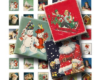 Vintage Christmas - Digital Collage Sheet   - .75 x .83 Scrabble Size - INSTANT DOWNLOAD