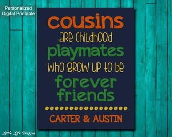 Cousins Sign Personalized. Cousins Forever Friends. Cousin Gift. Cousin Best Friend Sign. Buddies Sign. Childhood Playmates. Boys Wall Art.