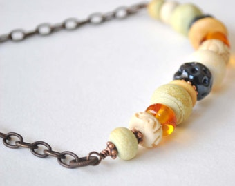 Beaded Necklace, Bohemian Lampwork Glass Necklace, Neutral Colors, Spring Necklace, Eclectic Necklace