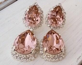 Blush earrings,blush chandelier earrings,Blush pink bridal earring,Blush pink earring,Blush bridesmaid earrings,Drop earrings,wedding