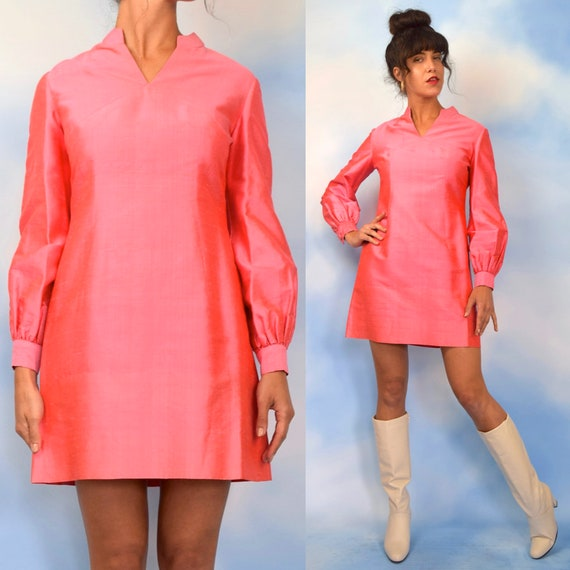 Vintage 60s Iridescent Flamingo Pink Thai Silk Mini Dress (size medium)