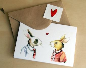 bunny love card - blank greeting card