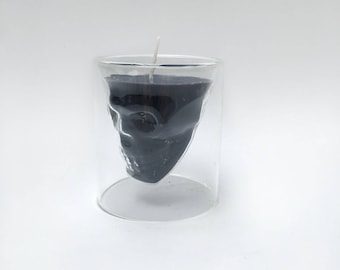 Love & Whiskey, candle skull whiskeyglass
