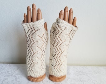 Lacy Mohair/Wool Fingerless Gloves in Cream with Dove Gray Cashmere Palm
