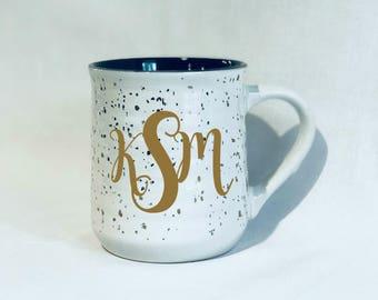 Gold Speckled Coffee Mug, Monogrammed Mug